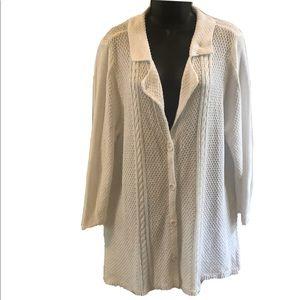 Heather B white button down sweater, XL
